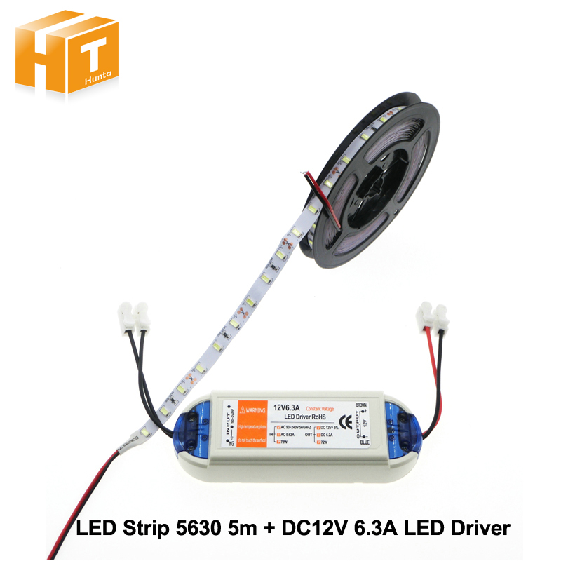 LED Strip 5630 12V 60 LED/m Warm White / White / Cold White 5M Home Decoration Lamps + DC12V 6.3A Driver