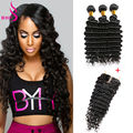 Peruvian Black Hair With Closure 4 Bundles Peruvian Virgin Hair Deep Wave With Closure Grace Hair Company Bundles With Closure