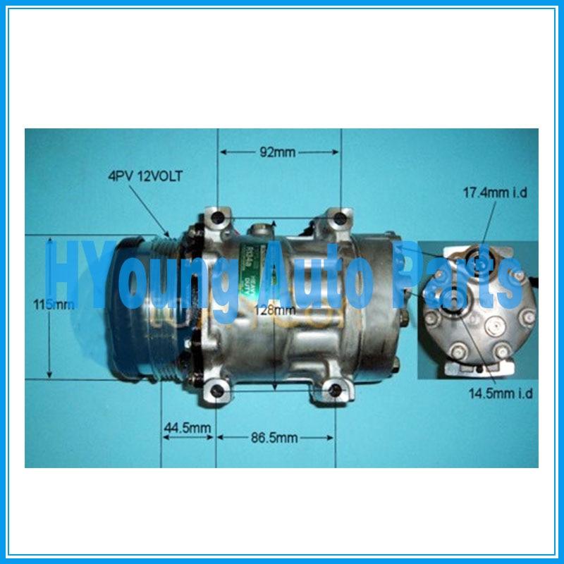 Compresseur de climatisation pour cas New Holland TS110 tracteur 112mm 4pk 12v tampon Horizontal 4040526 Sanden 7H15 SD7H15 6021 814