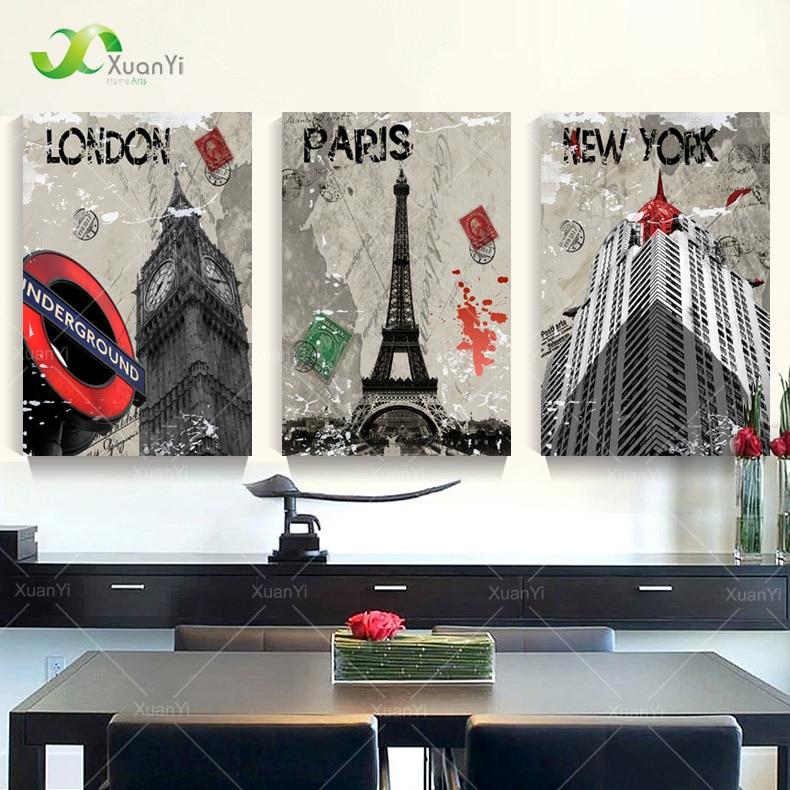 3 Panel Modern London Paris New York City Painting Cuadros ...