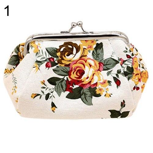 Women Flower Printed Canvas Wallet Card Holder Coin Purse Clutch Handbag Bag casual weaving design card holder handbag hasp wallet for women