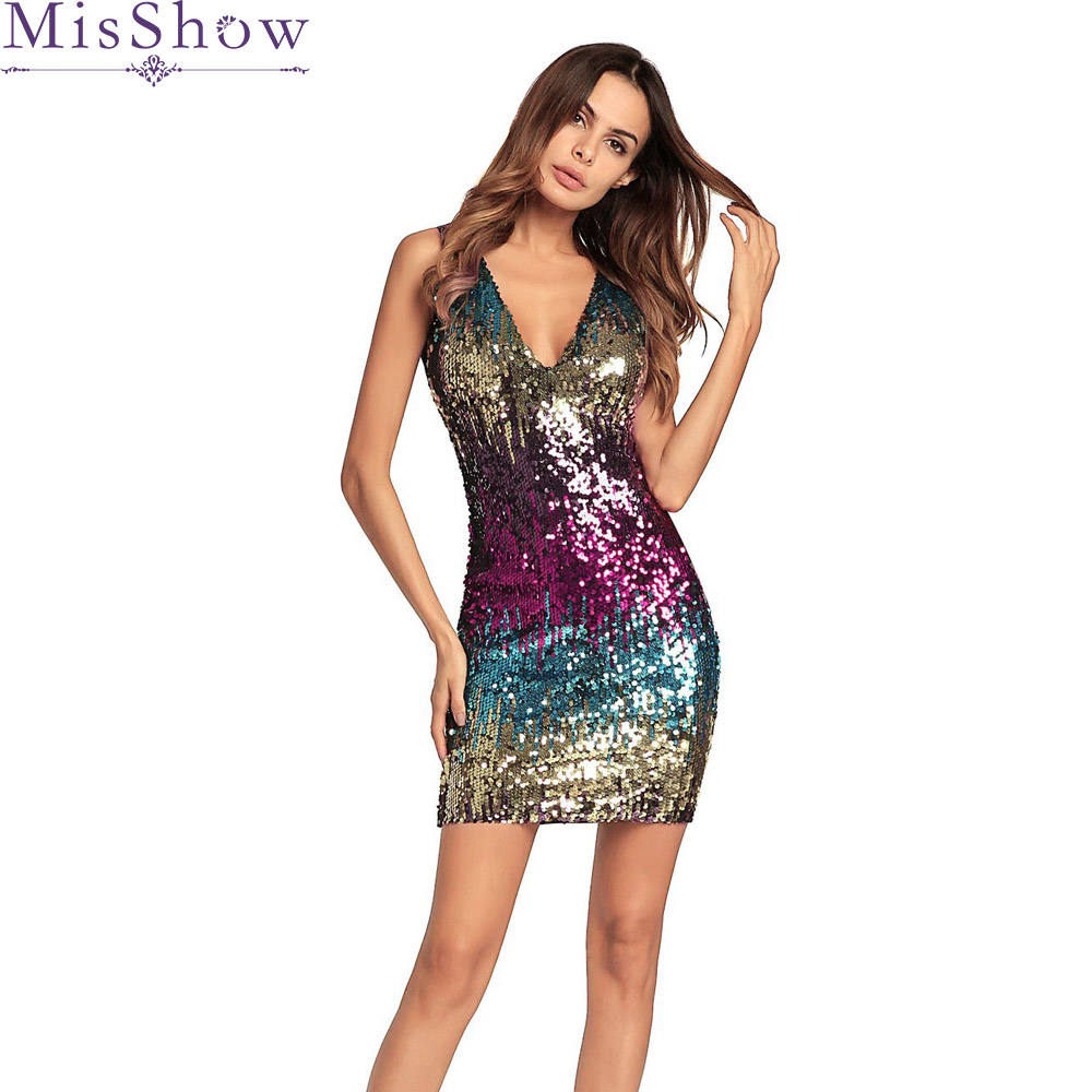 Sexy Short Mini Gradient Short Cocktail Dresses 2019 Sequined Sleeveless Formal Party Dress Robe De Cocktail Prom Gown