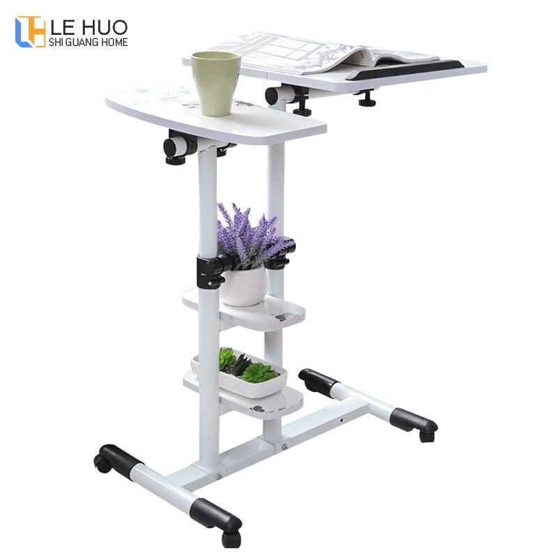 Table d'ordinateur portable en bois debout bureau bureau réglable en hauteur ordinateur bureau avec roues table pliante chambre chevet livre bureau