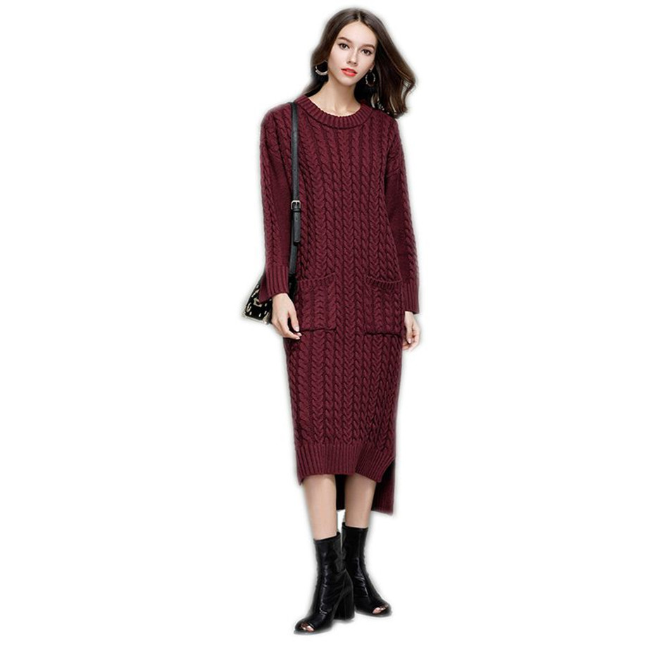 Long Sleeve Dresses For Women Winter 2017 New Arrival Sweater Dress Knitted O Neck Open Slit Slim Casual Long Dress Midi