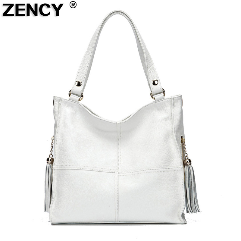 ZENCY 100% cuero genuino cuero suave mujeres bolsos de hombro borlas bolsos de cuero Real mujeres mensajero bolso-in Cubos from Maletas y bolsas    1