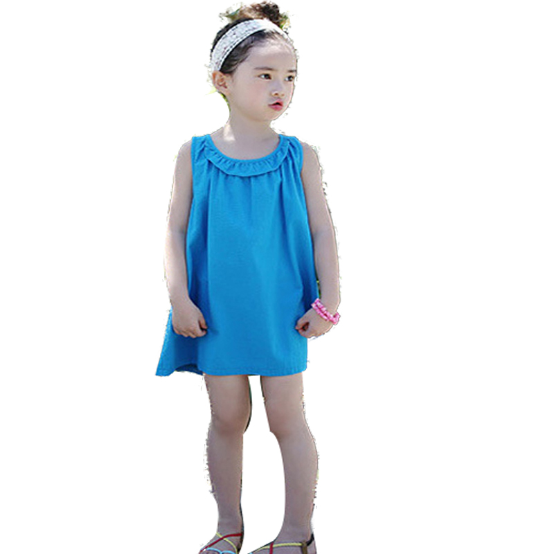 1 Piece All Blue Dresses Girls Hot Princess Dress Summer Children Cotton  Clothes Wedding Party Kids For Girls Dresses Clothing baby girls dress summer 2017 brand girls wedding dress cotton princess dress for girls clothes kids dresses children clothing