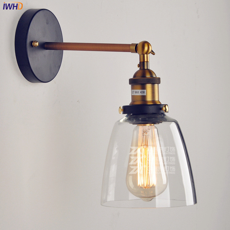купить IWHD Edison Vintage LED Wall Lamp Glass Lampshade Retro Loft Industrial Wall Light Arandela по цене 1958.33 рублей