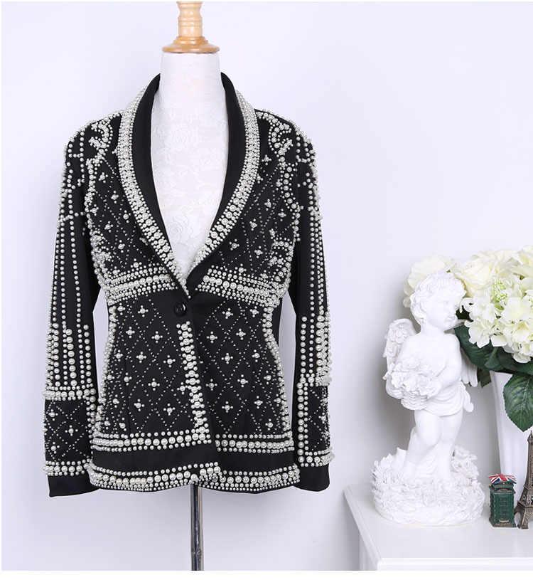 Женский блейзер высокого качества, куртка s 2018, новая мода, бренд Парижа, дизайнерский, украшенный бисером, блейзер, куртка Feminino, женская одежда