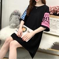 Loose Long Summer T Shirt Women Cotton Print Harajuku Kawaii Tshirt Korean Style Streetwear Tops Plus Size Women Clothing 50H001