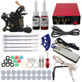 Complete Tattoo kits 10 wrap coils 1 guns machine shading 2 tattoo ink sets power supply disposable needle clip cord