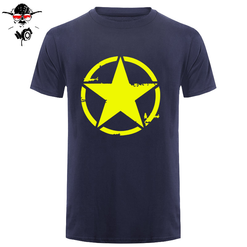 Men T-Shirt Fashion Tee Shirt Short Sleeve Army Star Distressed T-Shirt Design Website image