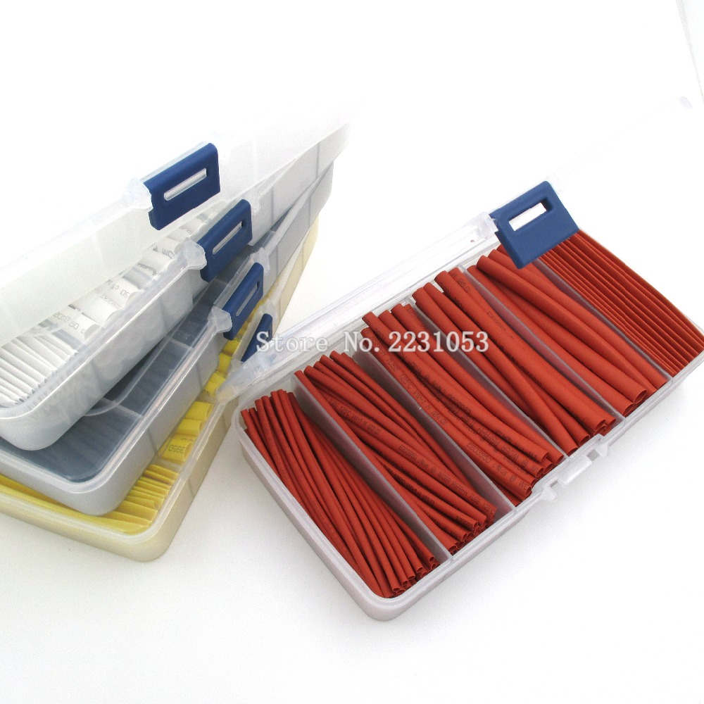 165PCS/LOT 2:1 Heat Shrink Tube Tubing Sleeving Wrap Wire Cable Kit 2mm 3mm 4mm 5mm 6mm 8mm Heat Shrinkable Cable Sleeves Set цена