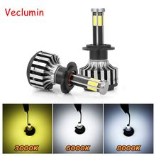 S6 2pcs/Set 60W H4 Led Car Headlight Bulbs 6 Sides LED H7 Car Light Auto H11 LED Lamps 6000LM 9005/9006 3000K 6000K 8000K Lamp