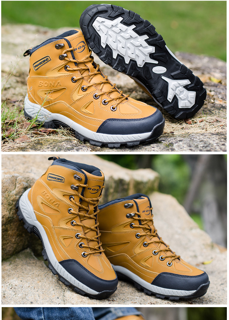 BONA Men Hiking Shoes Anti-Slip 11