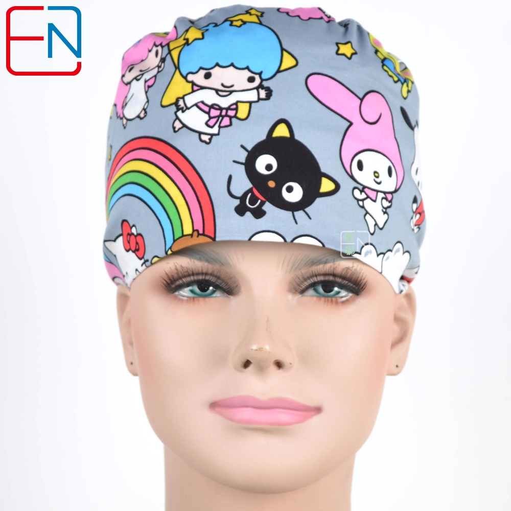New Surgical Caps Medical Newly Surgical Scrub Caps Mask For Men Women With Sweatband 100% Cotton Medical Caps Printed Unisex