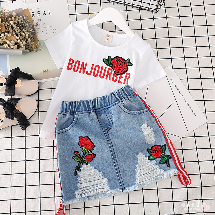 Retailed Hot Sale Fashion rose T shirt + Denim skirt 2PCS Kids Girls Outfits summer Clothes Set baby girl clothes