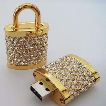 Gold Diamond Lock USB Flash Drive U Disk Genuine Capacity 8GB 16GB 32GB 64GB Gift Jewelry Pen Drive Pendrive Memory Stick Key