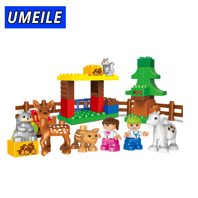 UMEILE Brand 39PCS Classic Zoo Animal Farm Duck Brick Set DIY Building Blocks Brother Figure Kids Toys Compatible With Duplo kid s home toys large particles happy farm animals paradise model building blocks large size diy brick toy compatible with duplo