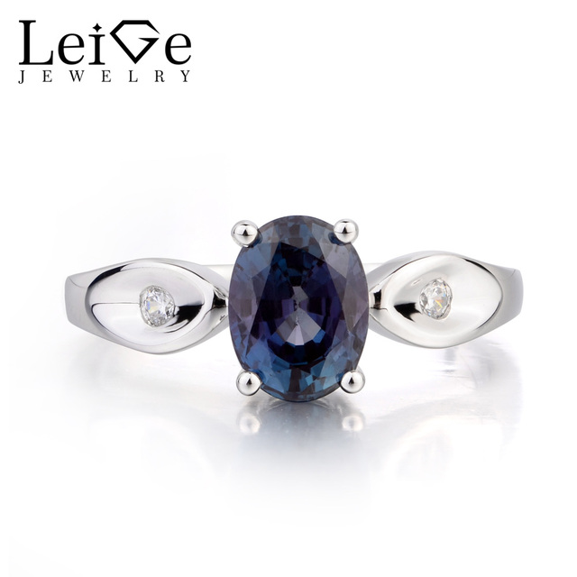 Leige Jewelry Alexandrite Ring Alexandrite Wedding Ring Oval Cut Color  Changing Gemstone 925 Sterling Silver June