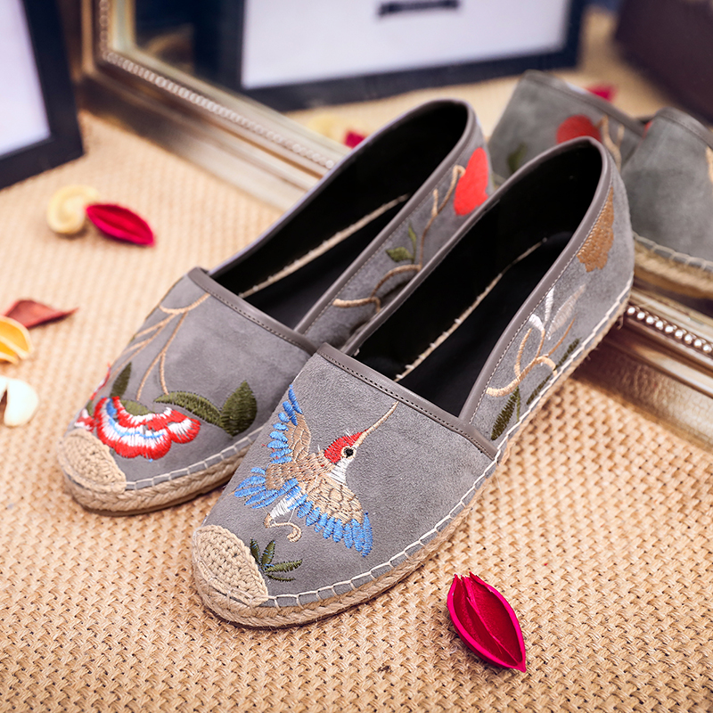 Women's Genuine Suede Leather Slip-on Loafers Brand Designer Flowers Embroidery Ballerinas Comfortable Moccasins Shoes for Women