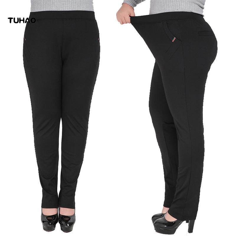 2019 Women Pant Fall Winter Plus Size 5XL <font><b>4XL</b></font> Pants Office Lady Casual Female Stretch Trousers Black <font><b>Pantalones</b></font> <font><b>Mujer</b></font> YH29 image