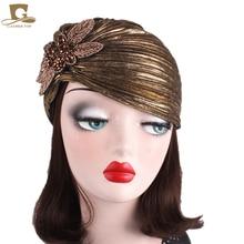 New Luxury Metallic Shinny Ruffle Turban Head Wrap Women Marriage Cap With Beaded Flower Lady Indian