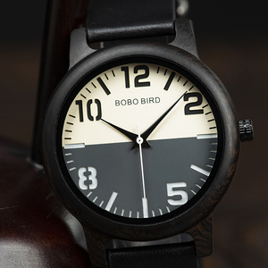 Image 3 - BOBO BIRD Ebony Wood Watch Men Timepieces Leather Strap Quartz Watches relogio masculino Mens Gifts Accept Logo Drop Shipping