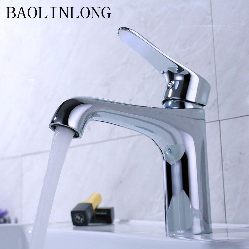 BAOLINLONG nouvelles style laiton pont montage salle de bain robinet vanité navire éviers mélangeur robinet d'eau froide et chaude