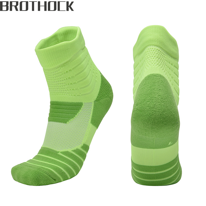 Brothock Basketball Socks Processing Custom Hair Men And Women Elite Sports Socks Towel Bottom Stockings Black And White Green