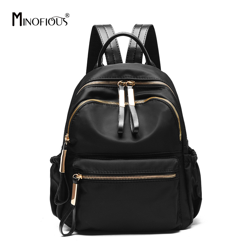 MINOFIOUS Multifunction PU Leather Backpack Fashion Casual School Bags Women High Quality Back Bag Black Backpacks For Girl
