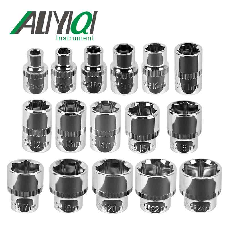 Aliyiqi 3/8 Socket Wrench Head Sleeve Double EndHand Tools 6mm~17mm Hexagon short sleeve 38mm high quality hexagon magnetic 3 4 sleeve socket head screwdriver tapping drill chrome molybdenum steel connector rod head