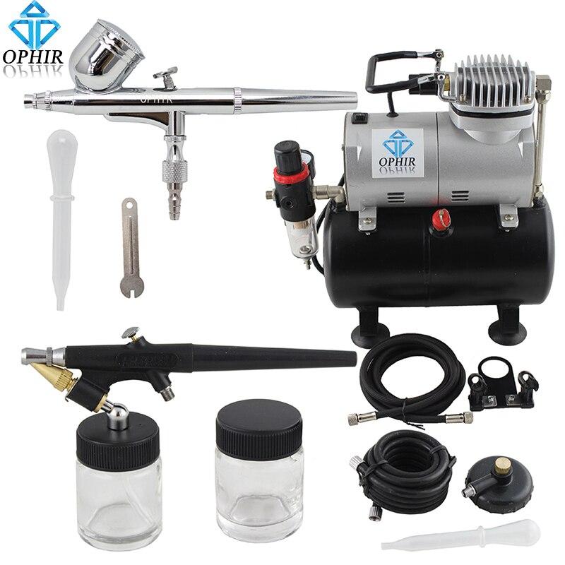 Kit d'aérographe à double Action OPHIR avec compresseur de réservoir d'air pour passe temps peinture de gâteau Kit de compresseur d'aérographe de bronzage AC090 + 004A + 071 - 2