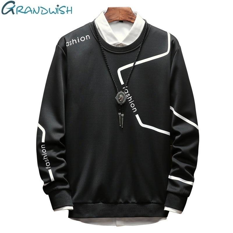 Grandwish New Spring Men's Hoodie Long Sleeve O-neck Sweatshirt For Men Fashion Letter Print Hoodies Solid Color Sportwear,ZA162