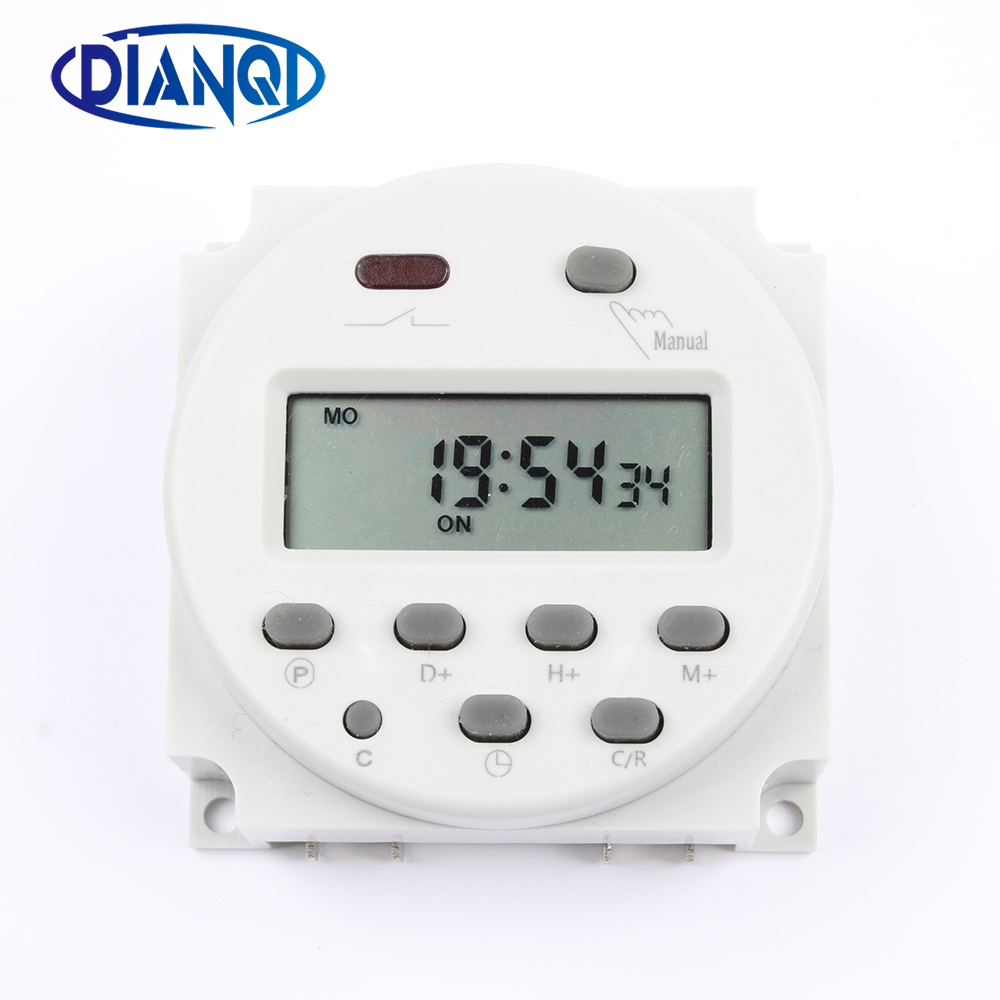 No lock CN101A AC DC 12V Round Digital LCD Power Timer Weekly Programmable Electronic Time Relay Switch 8A TO 16A CN101 weekly