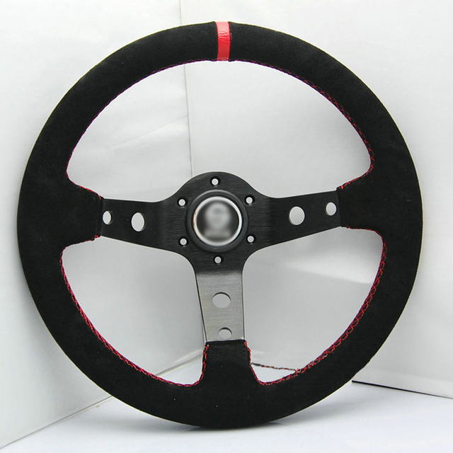 New Universal Sport 320mm Second Level Leather Deep Dish Steering Wheel Red Strip