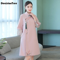 2019 new oriental asian bride beauty chinese traditional wedding qipao dress women pink floral long sleeve embroidery cheongsam