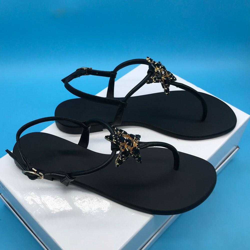 Sandalias de mujer con diseño de diamantes de imitación de estrella negra sandalias de tiras de playa G039 pisos de cuero de vaca-in Sandalias de mujer from zapatos    2