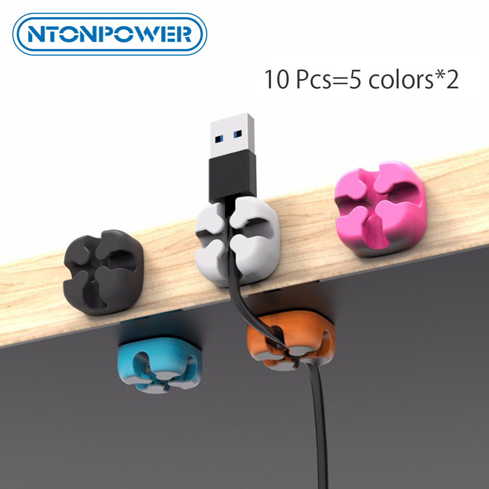 NTONPOWER 10PCS Cable Management Organizer Soft Silicone Cable Winder Colorful Desktop Wire Organizer Cord Protector Holder Clip in Cable Winder from Consumer Electronics