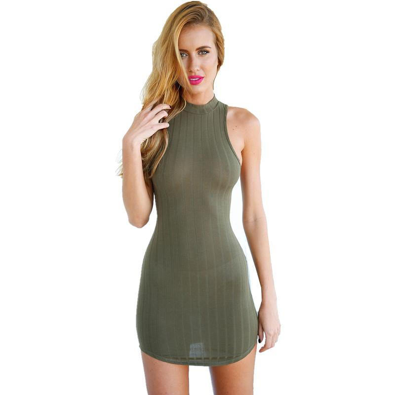 New Womens Olive Green Stripped Mini Dress Hatler Bodycon Dress Mini