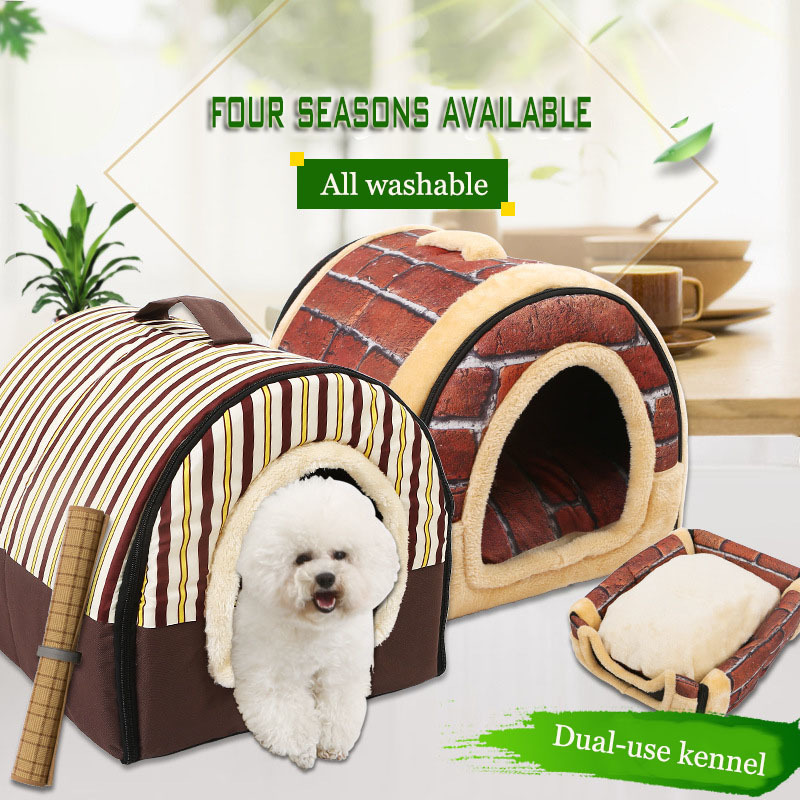 Yurt Dog Beds For Small Dogs Folding Dual-purpose House Waterproof Chihuahua Bed Medium Large Bull Terrier Pet Nest