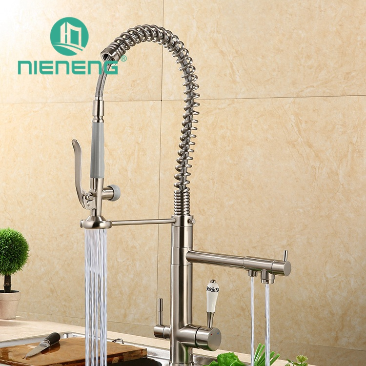 Nieneng Multi Function Kitchen Mixer Faucet Hot And Cold Water Swivel 3 Way Mutfak Taps Pull Down Spray Kitchen Faucet ICD60695