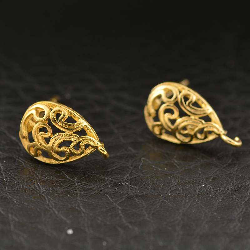 NEW 10PCs Copper Earring Post Hollow Water Drop Gold Color 15x13mm DIY Accessories For Jewelry Making Findings For Women Jewelry