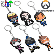 Overwatch Hero Reaper pharah winston soldier tracer series keychain Silicone keyring pendant car chaveiro funs Unisex jewelry