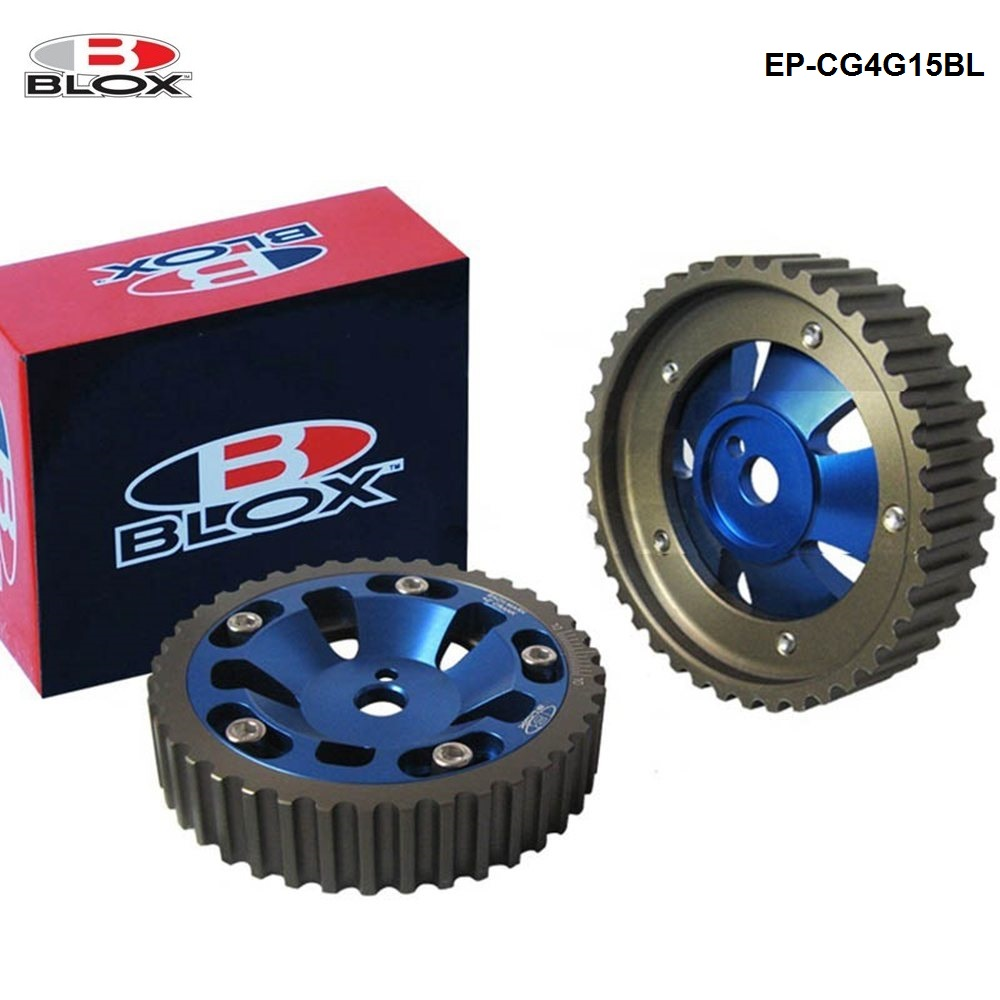 1Pair / Unit Tansky - BLOX 2Pcs Aluminum Upgrade Engine Cam Gear pulley For Mitsubishi 4G15/4G13 Cam Gears (Blue) EP-CG4G15BL