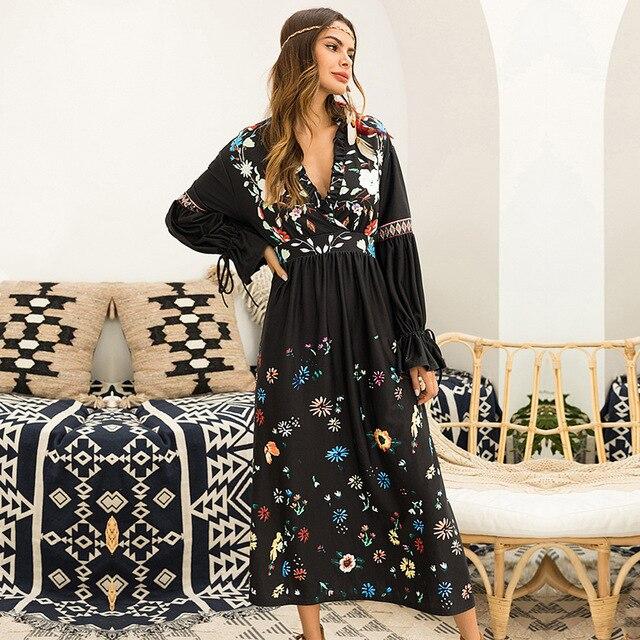 f6add8202e 2019 Women Dress Long Sleeve Autumn Winter Beautiful Dresses Elegant Maxi  Long Floral Dress Plus Size