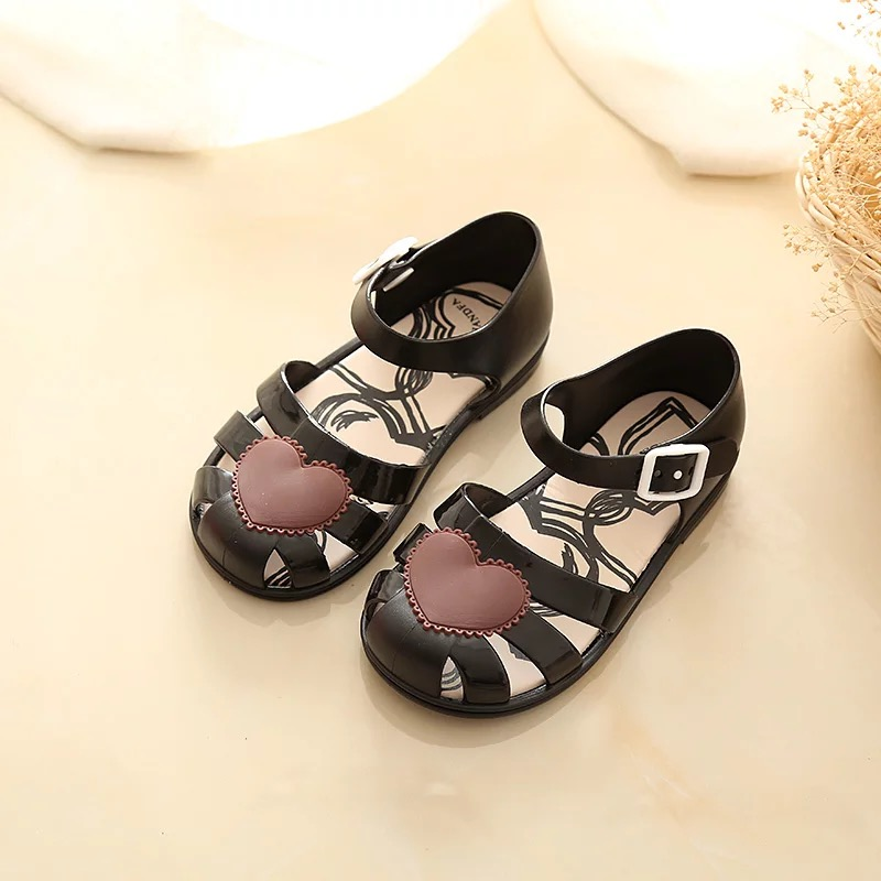 Mini Melissa 2018 Summer Girls Sandals Children Flower Shoes Toddler Kids Girls Princess Beach Sandals Roman Kids Sandals