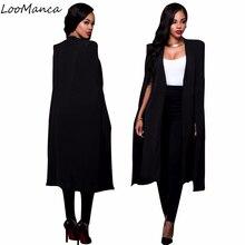 Women blazers and jackets 2017 New Long Blazers For Ladies cape coat suit OL blazer jackets balck white cape blazer femme