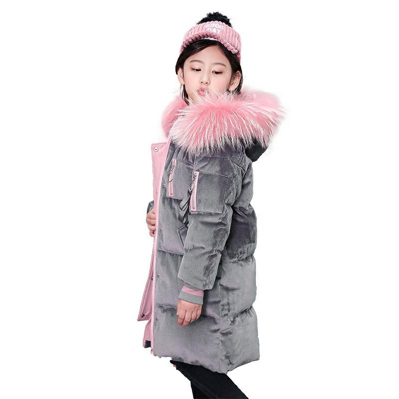 New Fur Hooded Teenage Kids Winter Jacket Girls Warm Coats 2018 Children Winter Coat Thick Long Down Coats for 4 6 8 10 12 Years new 2018 fashion children winter jackets girls winter coat kids warm hooded long down coats for teenage girls casaco infantil 12