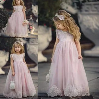 Lovely Light Pink Flower Girl Dresses For Weddings Kids Pageant Gowns A Line Lace Appliqued First