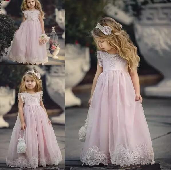 Lovely Light Pink Flower Girl Dresses For Weddings Kids Pageant Gowns A-Line Lace Appliqued First Communion Dress